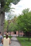 Cambridge MOR, 30th juni: Harvard Hall byggnad från den Harvard universitetsområdet i den Cambridge Massachusettes staten av USA Fotografering för Bildbyråer