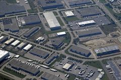 Cambridge Ontario przemysłowy aera, antena Obraz Royalty Free