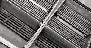 Cambridge punts taken from above, monochrome Royalty Free Stock Photos