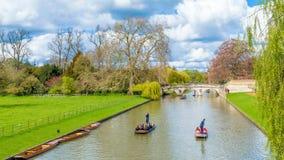 Cambridge, Reino Unido - 17 de junio de 2016: La gente que lleva en batea en la leva del río en un verano soleado brillante weeke Fotografía de archivo