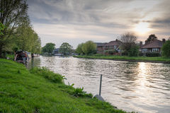 Cambridge river banks. A quiet evening at the cam Royalty Free Stock Photography