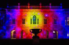 Cambridge-Senats-Haus belichtet während des eLuminate Lichtfestivals Stockbilder
