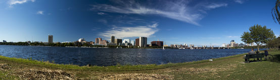 Cambridge Mass Skyline. Cambridge Skyline looking North across the Charles River from the Esplanade on the Boston side with th Massachusetts Institute of Royalty Free Stock Image