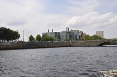 Cambridge, 30th June: Cambridge Town Panorama from Charles river in Massachusettes state of USA. Cambridge Town Panorama from Charles river in Massachusettes royalty free stock photography