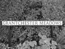 Grantchester Meadows in Cambridge in black and white. CAMBRIDGE, UK - CIRCA OCTOBER 2018: Grantchester Meadows made famous by Pink Floyd Ummagumma album in black stock photos