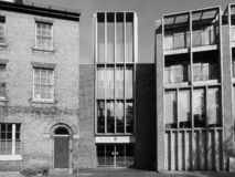 West Court accomodation in Cambridge in black and white. CAMBRIDGE, UK - CIRCA OCTOBER 2018: West Court accomodation in black and white stock photography