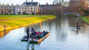CAMBRIDGE, UK - JANUARY 18, 2015: River Cam and tourist's boats stock video footage