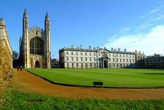 Cambridge uni. With church and green lawn Stock Image