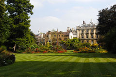Cambridge University. Campus in the middle of summer with colourful garden Royalty Free Stock Images