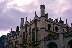Cambridge university building roof and windows in twilight , UK Royalty Free Stock Photos