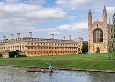 Cambridge University. King's College from across the river Stock Photography