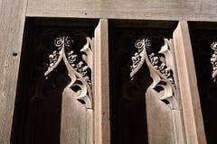 Cambridge university old wooden door details, UK Royalty Free Stock Photo