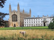 Cambridge University, view of King`s College from the back royalty free stock image