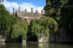 cambridge university Widok od rzeczny krzywka fotografia royalty free