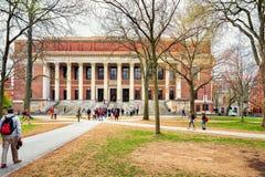 People at Widener Library at Harvard Yard of Harvard University. Cambridge, USA - April 29, 2015: People at Widener Library at Harvard Yard of Harvard University Stock Photo