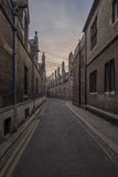 Cambridge victorian street. A quiet street in Cambridge England during dusk Stock Photo