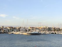 Cambrils port. Docked yachts in dock of Cambrils, Spain stock image