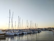 Cambrils port. Docked yachts in dock of Cambrils, Spain stock photography