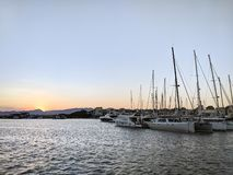 Cambrils port. Docked yachts in dock of Cambrils, Spain stock photos