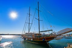 Cambrils port in Tarragona of Catalonia. Cambrils port sailboat in Tarragona of Catalonia in Spain stock photos