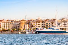 CAMBRILS, SPAIN - SEPTEMBER 16, 2017: View of port and museu d`Hist`ria de Cambrils - Torre del Port. Copy space for text stock photo
