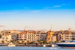 CAMBRILS, SPAIN - SEPTEMBER 16, 2017: View of port and museu d`Hist`ria de Cambrils - Torre del Port. Copy space for text stock image