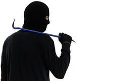 Cambrioleur de voleur avec le pied-de-biche en métal Photographie stock