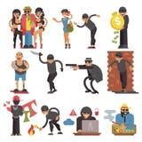 Cambrioleurs de vecteur de criminels ou caractère de cambrioleur d'ensemble criminel de criminalité d'illustration de personnes d illustration libre de droits