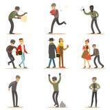 Cambrioleurs, pickpockets et voleurs réglés des criminels de sourire à la scène du crime volant des illustrations de vecteur illustration stock