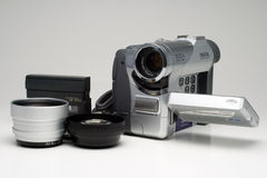 Camcorder and accessories Royalty Free Stock Images