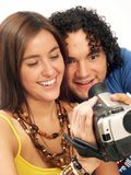 Camcorder couple. royalty free stock images