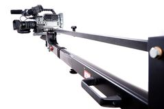 Camcorder on crane. Digital video camera recorder on black tv crane Royalty Free Stock Image