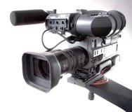 Camcorder on crane. Black dv-cam camera recorder on tv crane Stock Photo