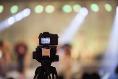 Camcorder at Fashion show Wedding fair out of focus,blur backgro. Und Stock Photography