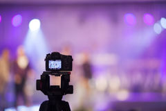 Camcorder at Fashion show Wedding fair out of focus,blur backgro. Und Stock Photos