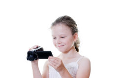 Camcorder girl Stock Photos