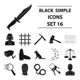 Camcorder, handcuffs, lattice attributes of the prison.Prison set collection icons in black style vector symbol stock. Illustration Stock Photography