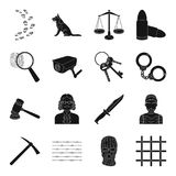 Camcorder, handcuffs, lattice attributes of the prison.Prison set collection icons in black style vector symbol stock. Illustration Royalty Free Stock Photography