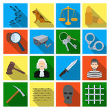 Camcorder, handcuffs, lattice attributes of the prison.Prison set collection icons in flat style vector symbol stock. Illustration Royalty Free Stock Photo