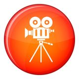 Camcorder icon, flat style. Camcorder icon in red circle isolated on white background vector illustration Stock Image
