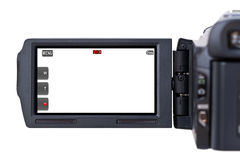 Camcorder LCD screen. A handheld camcorder's blank LCD screen isolated on a white background Stock Photo