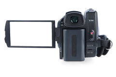Camcorder with open lcd display, isolated on white Royalty Free Stock Photos