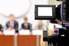 Camcorder at a press conference. Royalty Free Stock Photo