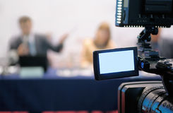 Camcorder at a press conference. Royalty Free Stock Image