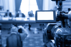Camcorder screen at a conference. Stock Image