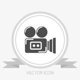 Camcorder vector icon. On grey background Stock Image