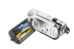Camcorder with yellowstone landscape. In opened LCD screen Royalty Free Stock Photo