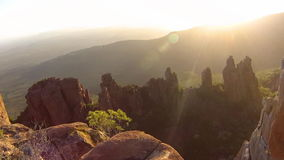 Camdeboo National Park. Aerial view of the Camdeboo National Park and the Valley of Desolation at sunset, Western Cape province of South Africa stock video