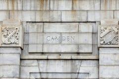 Camden auf Ben Franklin Bridge Lizenzfreie Stockfotos