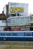 CAMDEN. Boat at Regents Canal in Camden Town, London Stock Photos